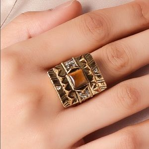 House of Harlow Cushion Square Ring in Tiger's Eye